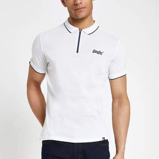 Superdry Mens River Island White half zip polo shirt