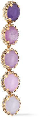 Elizabeth Cole Von 24-karat Gold-plated, Crystal And Stone Earrings