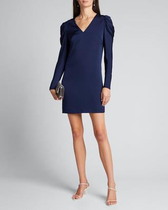 Milly Janelle V-Neck Puff-Sleeve Stretch Silk Dress