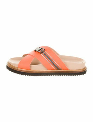 A.F.Vandevorst A.f. Vandevorst Leather Printed Slides Orange A.f. Vandevorst Leather Printed Slides