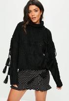 Missguided Black Tassel Sleeve Tie Knitted Jumper, Black
