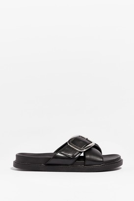 Nasty Gal Womens Put It to Footbed Faux Leather Buckle Sandals - Black - 5, Black