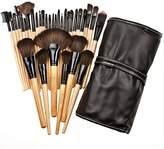 Millya 32pcs Makeup Brushes Professional Eye Lip Powder Face Cosmetic Brush Set Wood Cosmetic Makeup Brush Set & Make Up Case Black by Millya