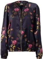 Castlebird Rose Silk Bomber Jacket Deep Purple