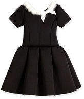 Zoë Ltd Short-Sleeve Pleated Fit-and-Flare Scuba Dress, Black, Size 4-6