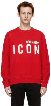 DSQUARED2 Red Icon Crewneck Sweatshirt