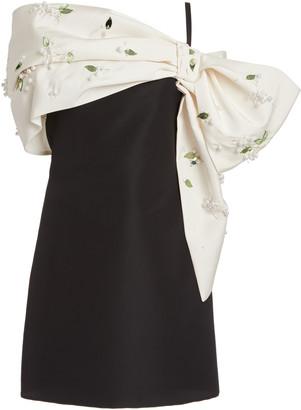 Carolina Herrera Draped Embellished Silk-Faille Mini Dress