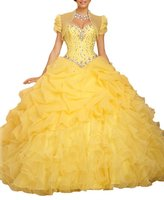 Beilite Women's Sweetheart Organza Prom Long Dresses Quinceanera Gown HotPink