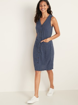 Old Navy Sleeveless Striped Linen-Blend Fit & Flare Dress for Women