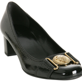 black patent leather 'Shield' buckle pumps