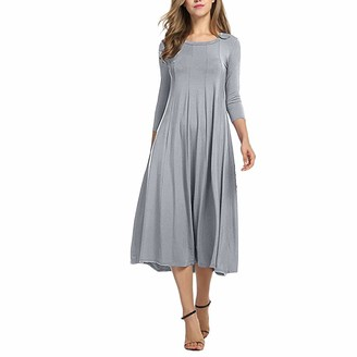 Toamen Women's Dress Toamen Womens Dresses Clearance Casual O Neck Solid Half Sleeve Loose Dress Ladies Evening Long Cocktail Swing Maxi Dress (Army Green 8)