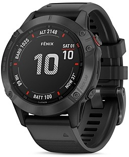 Garmin Fenix 6 Black Silicone Strap Smartwatch, 47mm