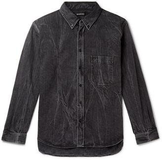 Balenciaga Oversized Button-Down Collar Logo-Print Stonewashed Denim Shirt