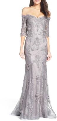 La Femme Off the Shoulder Lace Mermaid Gown