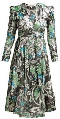 Diane von Furstenberg Darcey Tiger Lily Print Metallic Wrap Dress - Womens - Green Print