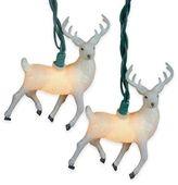 Kurt Adler 10-Light Glitter Reindeer Light Set in White