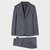 Paul Smith Men's Tailored-Fit Grey Double-Check Wool Three-Piece Suit
