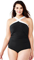 Classic Women's Plus Size Shaping High-neck One Piece Swimsuit-Deep Sea/White