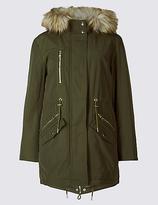 M&S Collection Cotton Blend Faux Fur Parka