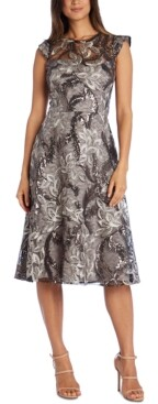 R & M Richards Embellished Lace A-Line Midi Dress