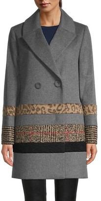 Cinzia Rocca Mixed Media Wool-Blend Faux Fur Coat