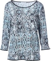 Calvin Klein Womens Snake Print Faux Trim Pullover Top Blue L