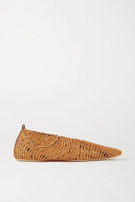 Stella McCartney Chain-embellished Woven Vegetarian Leather Ballet Flats - Tan