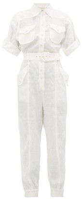 Zimmermann Super Eight Belted Linen Jumpsuit - Ivory