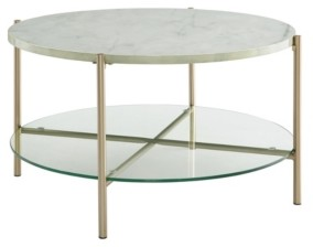Walker Edison 32 inch Round Coffee Table in White Faux Marble with Glass Shelf and Gold Legs