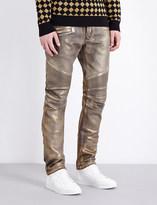 Balmain Metallic-coated regular-fit tapered jeans