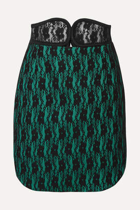 Christopher Kane Belted Lace And Satin Mini Skirt - Black