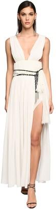 Saint Laurent Belted Silk Georgette Long Dress
