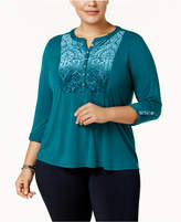 NY Collection Plus Size Velvet-Detail Henley Top