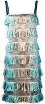 Alberta Ferretti tiered fringe dress - women - Polyester/Silk - 44