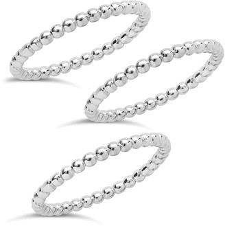 Sterling Forever Sterling Silver Beaded Ring - Set of 3