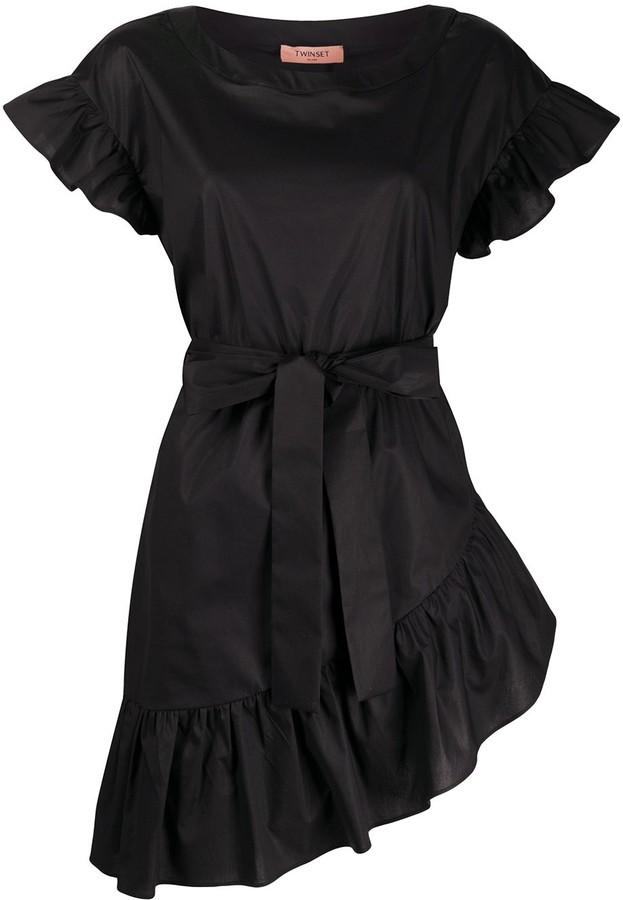 Twin-Set Ruffle Trim Belted Waist Dress