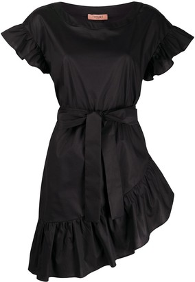 Twin-Set Ruffle Trim Belted Waist Dress
