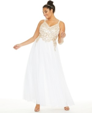 Say Yes to the Prom Trendy Plus Size Embroidered Gown