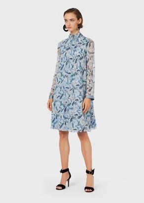 Emporio Armani Crepon-Silk Dress With All-Over Stiletto Print