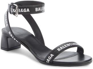 Balenciaga Logo Ankle Strap Sandal