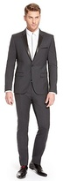 HUGO BOSS Adwards/Hens Slim Fit, Stretch Virgin Wool Tuxedo with Faux Leather Trim - Dark Grey