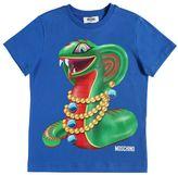 Moschino Snake Printed Cotton Jersey T-Shirt