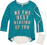Knitworks Knit Works 3/4-Sleeve Graphic High-Low Top with Phone Pouch - Girls 7-16