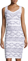 Alberto Makali Graphic-Print Bandage Dress, White/Black