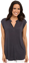 Allen Allen Sleeveless Split Neck Tee