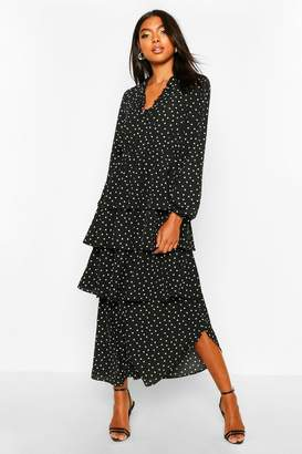 boohoo Tall Polka Dot Ruffle Skirt Midi Dress