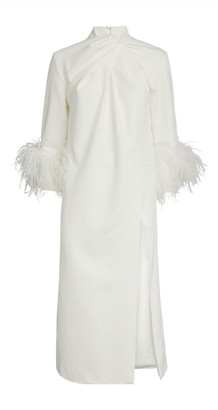 16Arlington Fujiko Feather-Trim Dress