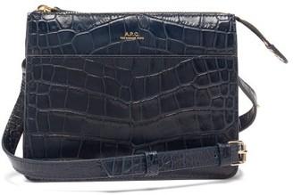 A.P.C. Ella Crocodile-effect Leather Cross-body Bag - Navy