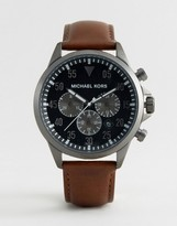 Michael Kors MK8536 Gage Chronograph Leather Watch In Brown