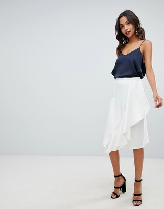 Closet London Skirt With Frill Detail-White